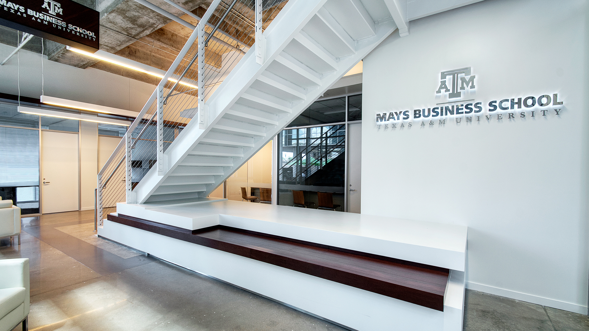 Higher Education Interior Design Texas A&M Mays Business School Stairwall Seating