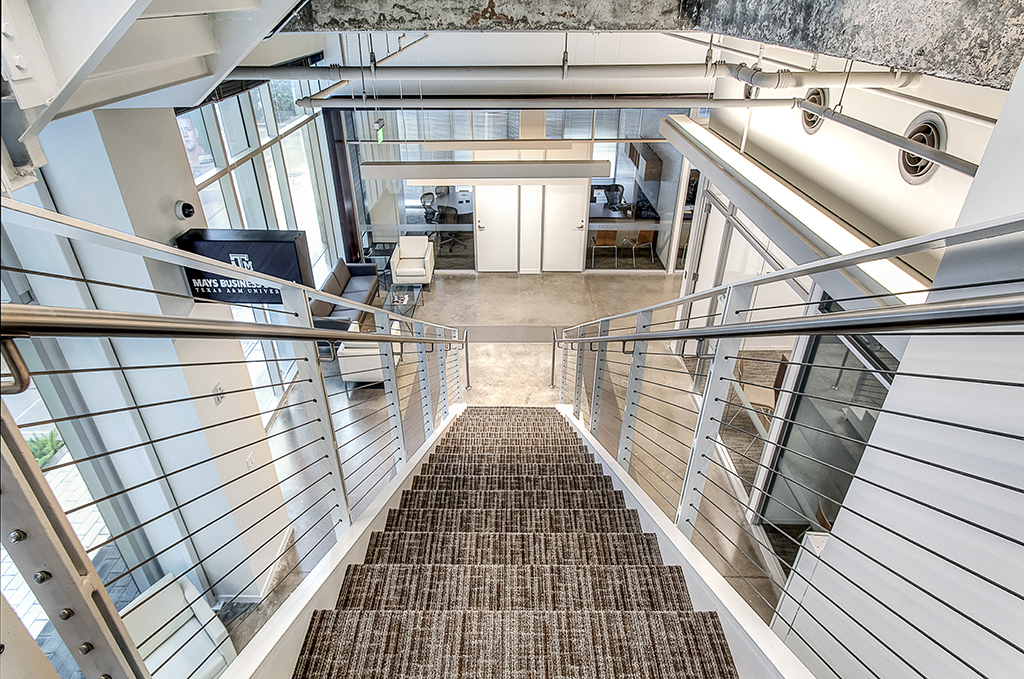 Higher Education Interior Design Texas A&M Mays Business School Internal Staircase