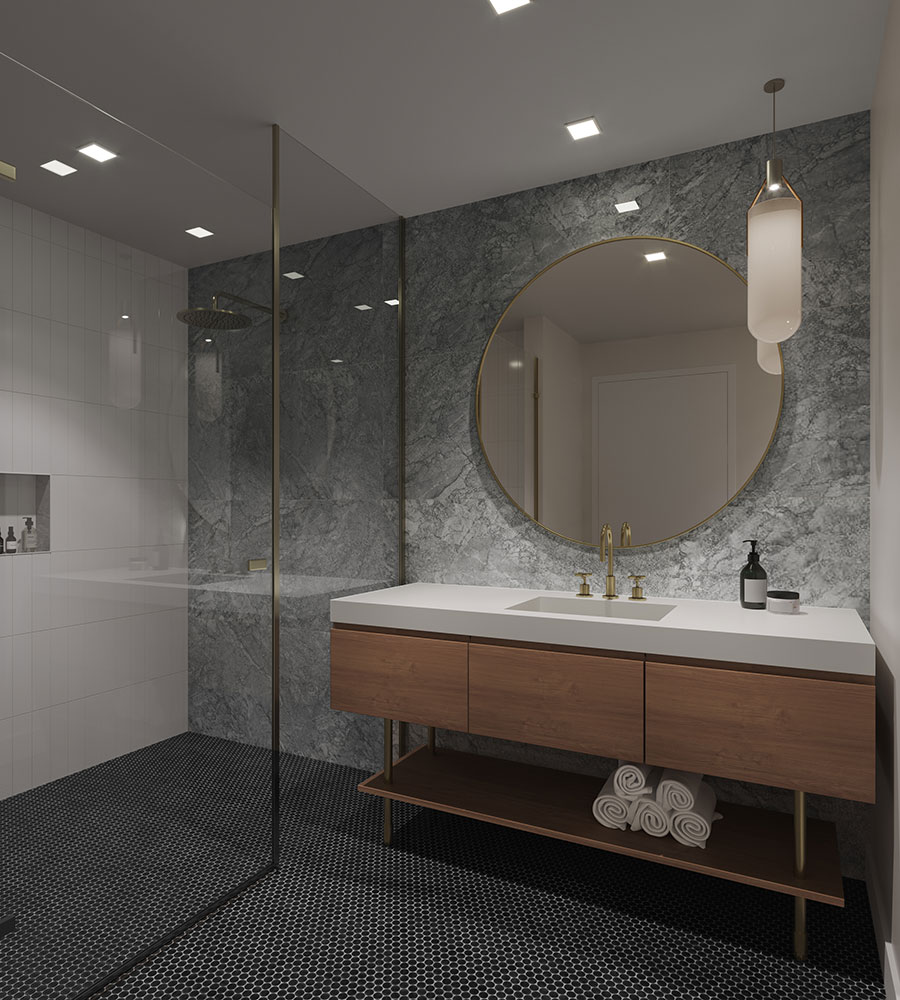 The Allen Development Condo Tower Hyatt Thompson Hotel Hospitality Interior Design Curbless Shower Bathroomm Vanity