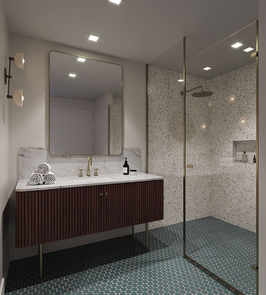 The Allen Development Condo Tower Hyatt Thompson Hotel Hospitality Interior Design Queen Bathroom Curbless Shower Vanity