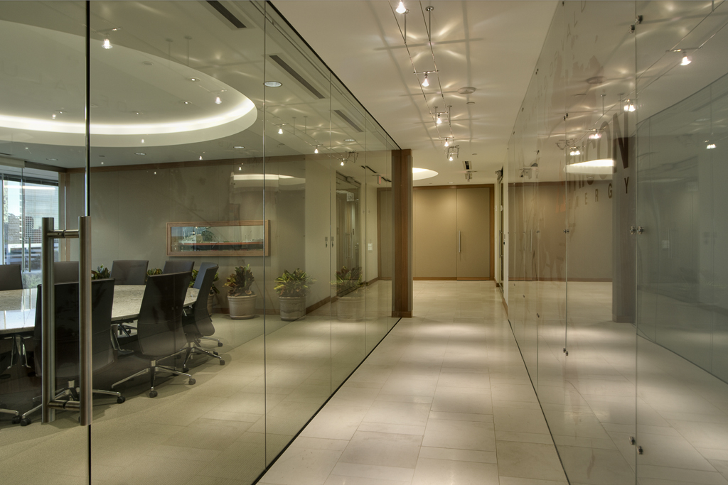 Houston Corporate Interior Design Understated Elegance Glass Fronts Corridor