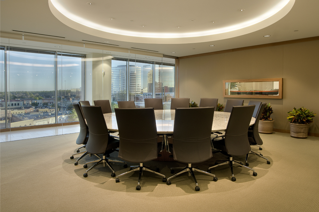 Houston Corporate Interior Design Understated Elegance Circular Meeting Area