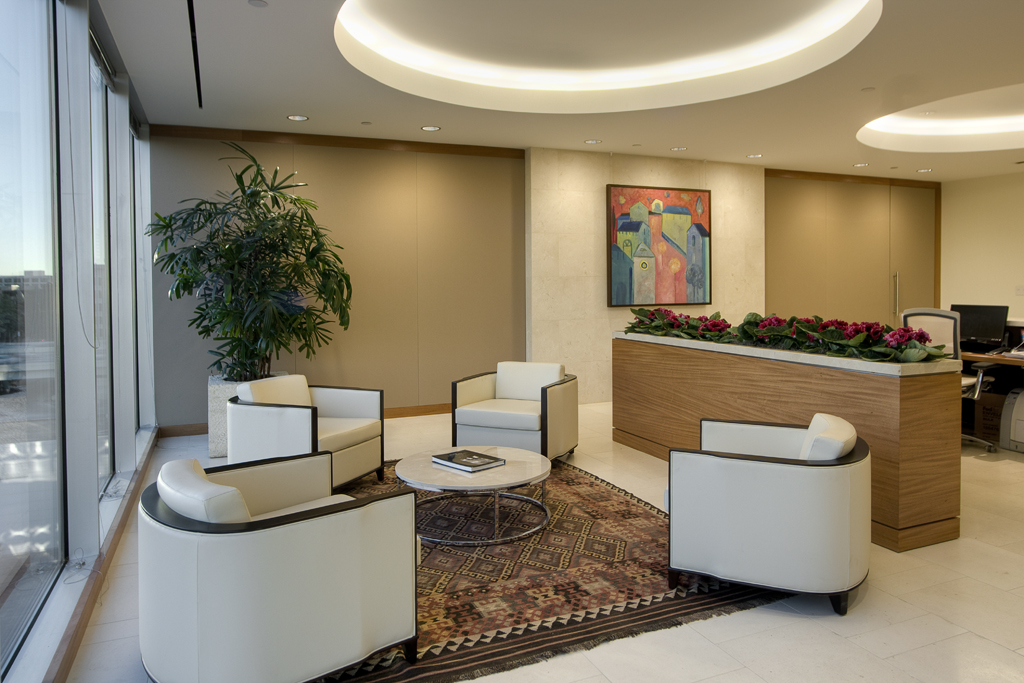 Houston Corporate Interior Design Understated Elegance Reception Lobby Seating