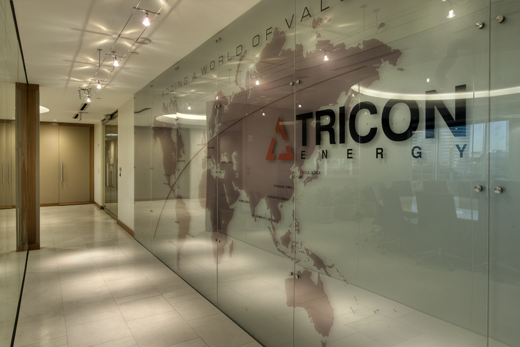 Houston Corporate Interior Design Understated Elegance Corridor Wall Company Logo