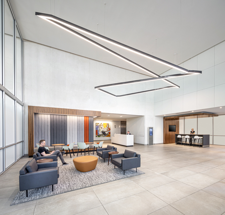 US BANK TOWER DENVER Lobby Seating Feature Lighting