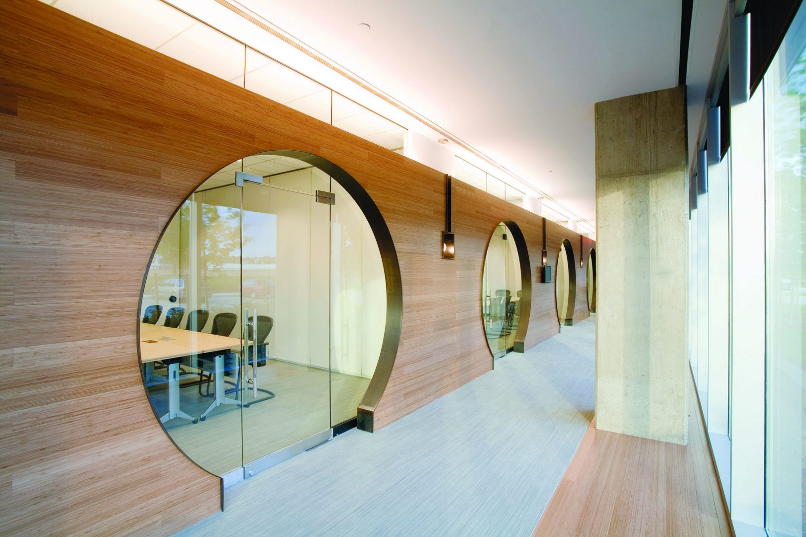 Corporate Interior Design LEED V&M Tubes HoustonPortal Cutout Doors Wood Veneer