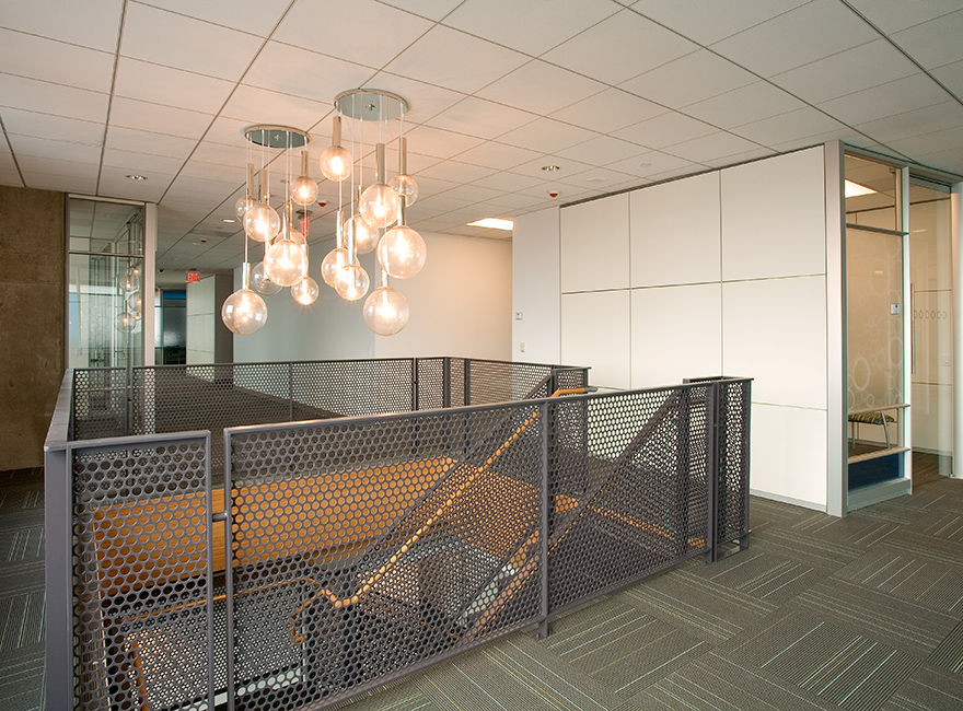 Corporate Interior Design LEED V&M Tubes Houston Metal Mesh Balustrade Pendant Staircase Lighting