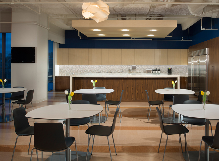 Corporate Interior Design Waste Connections Houston Lounge Breakroom Dining Meeting Area Warm Wood