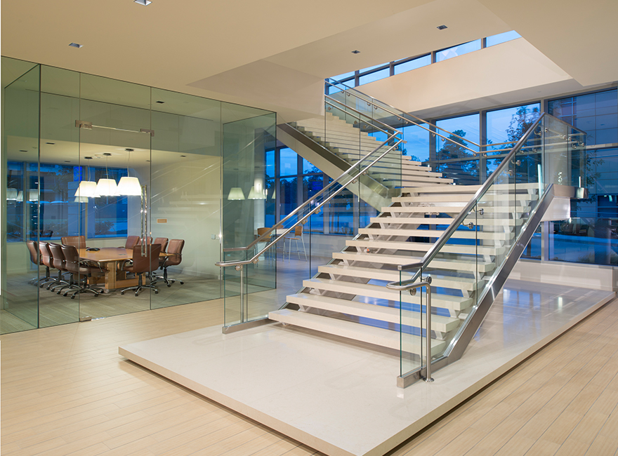 Corporate Interior Design Waste Connections Houston Entry Lobby Internal Staircase to Boardroom