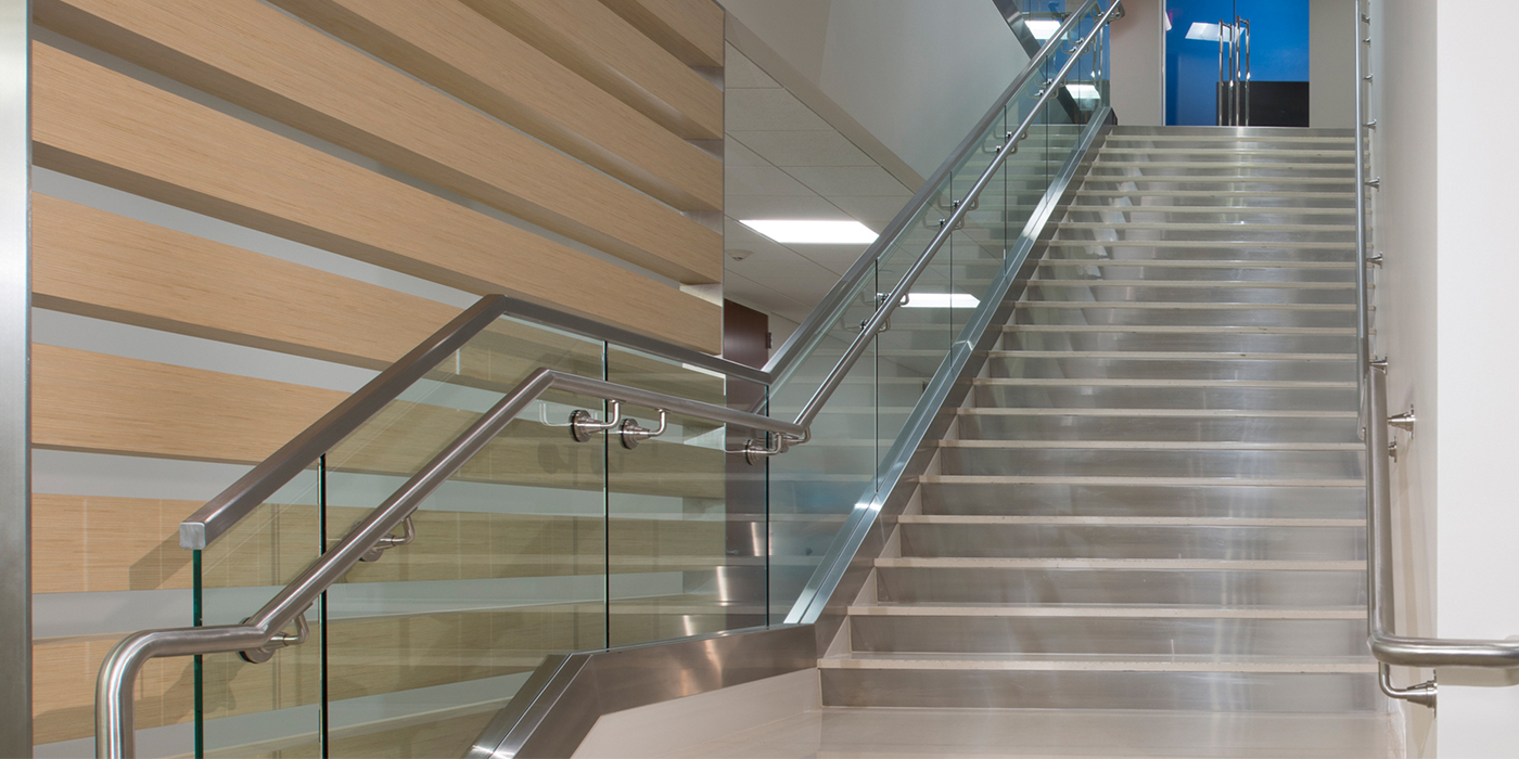 Corporate Interior Design Waste Connections Houston Internal Staircase to Boardroom
