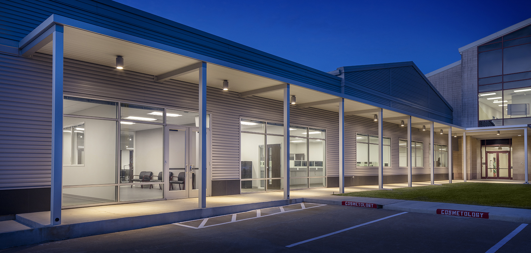 Architecture Education Design Wharton County Junior College Tech Wing Houston Parking Exterior Facade