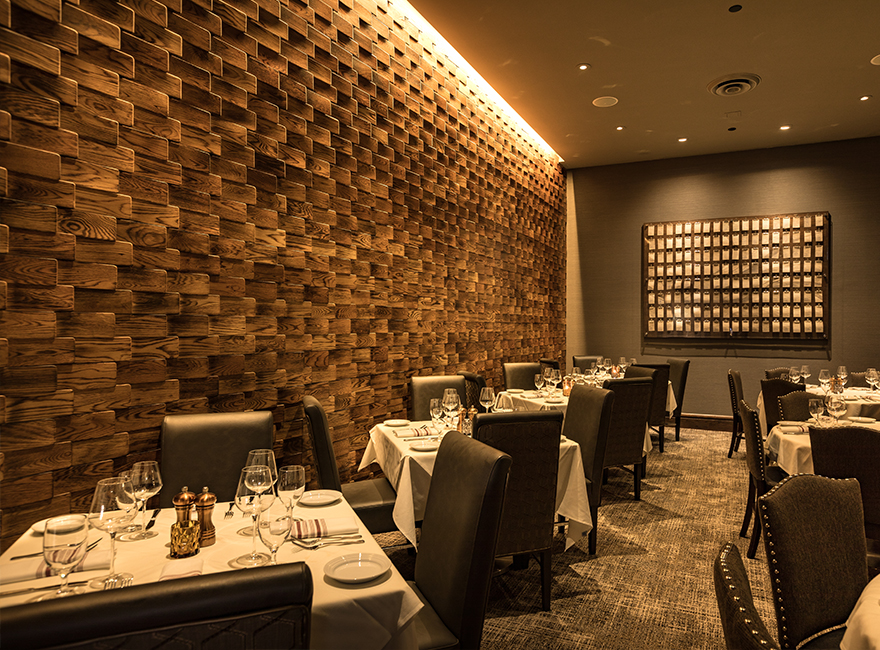 WILLIE G'S HOUSTON Hospitality Restaurant Interior Design Feature Wall Wood-look porcelain tile
