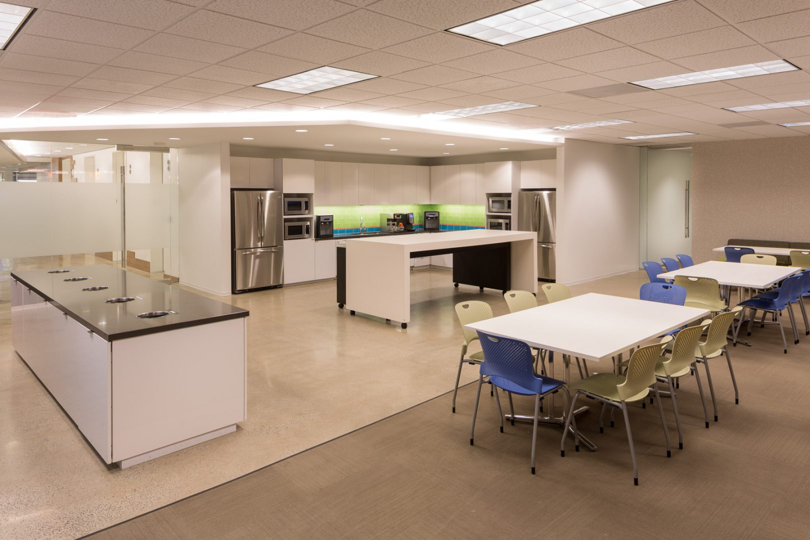 Corporate Interior Design Wood Mackenzie Houston Breakroom Mobile Island