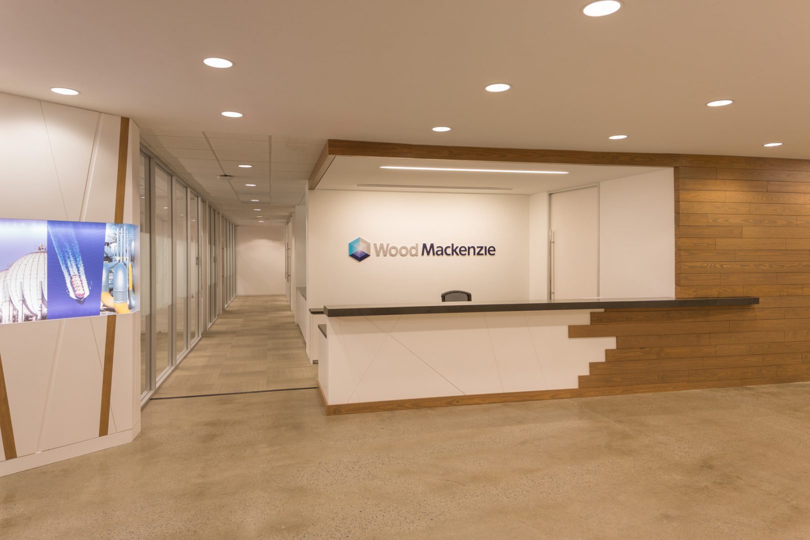 Corporate Interior Design Wood Mackenzie Houston Reception Desk