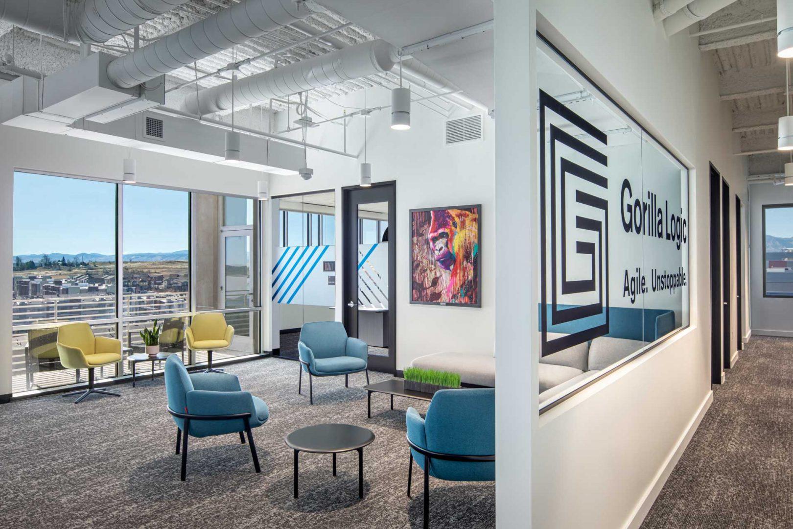office reception area design Gorilla Logic Denver office