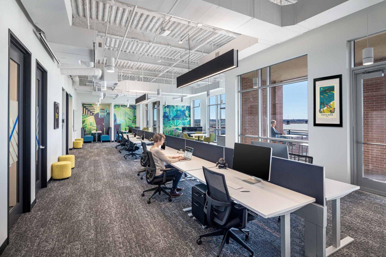 open work area benching design Gorilla Logic Denver office