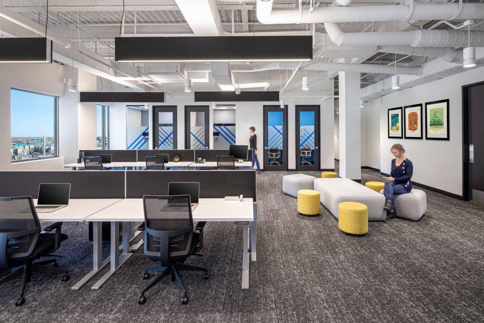 open work area design Gorilla Logic Denver office