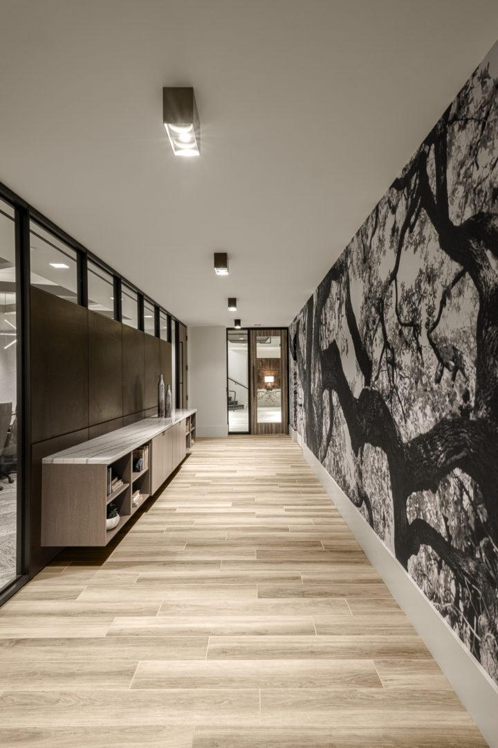 Encino Energy_Hallway with graphic wall design