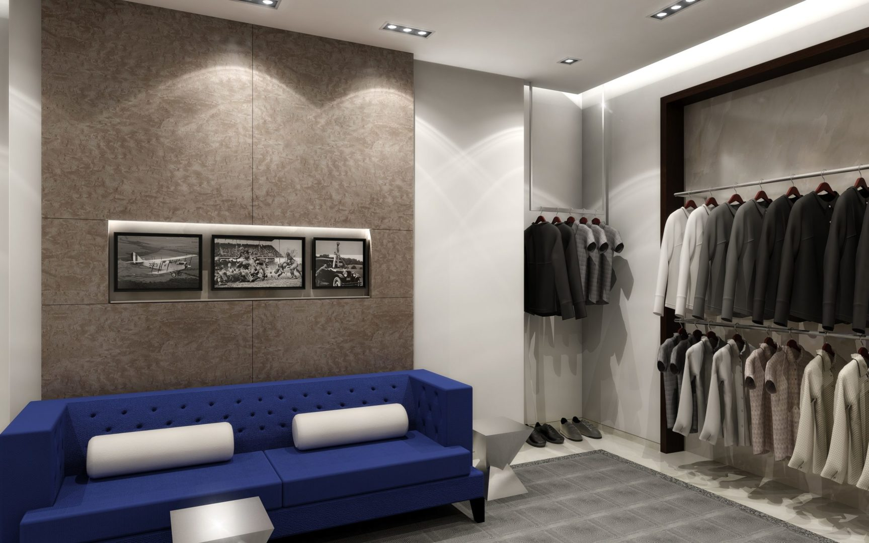 Uptown Houston Boutique Fitting Room and Mens Section