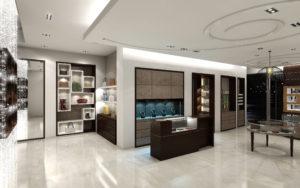 Uptown Houston Boutique - slim custom light fixture