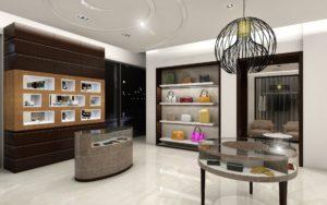 Uptown Houston Boutique - slim custom light fixtures