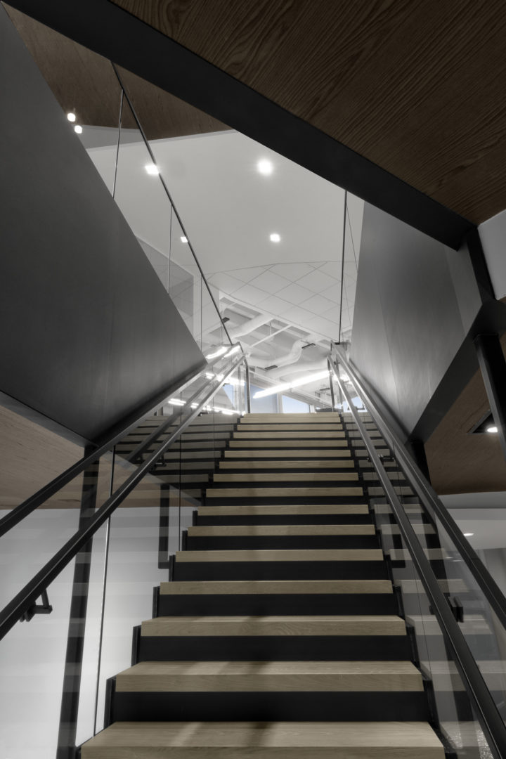 straight staircase with opening