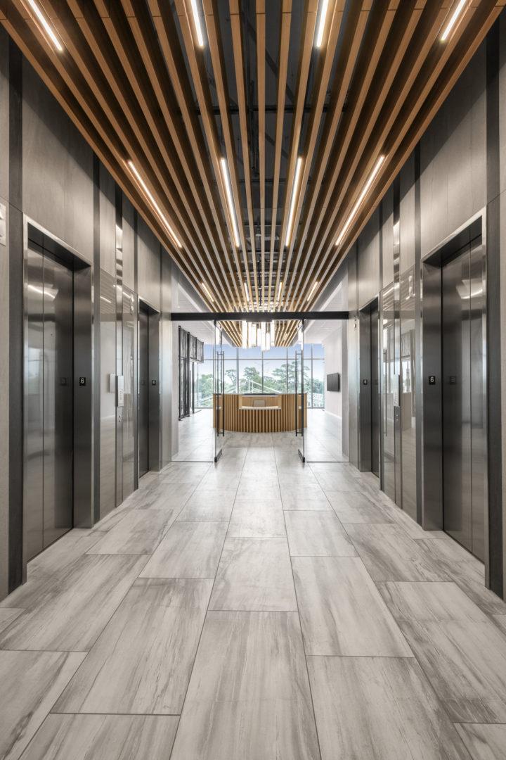 Fortune 500 Tech_ Elevator Bank Hallway